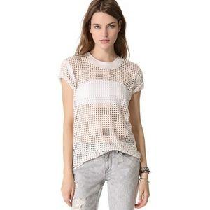 $280 IRO Taylor Perforated Mesh Tee Shirt Top